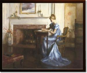 american-art-artist-marguerite-pearson-women-writing-a-letter-0s-30x36-framed