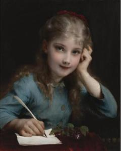 A Young Girl Writing a Lettter, by Adolphe Piot