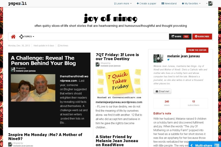 Come Read the joy of nine9 Newspaper