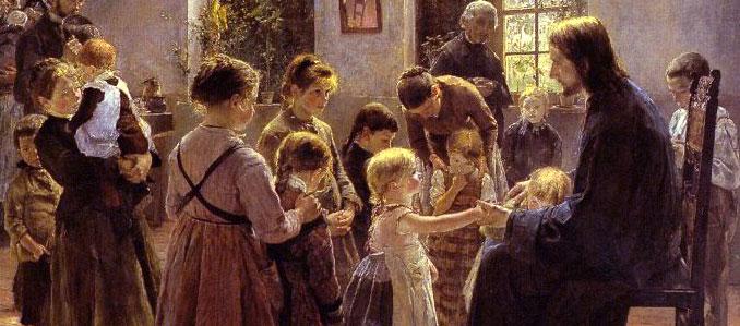 "Fritz von Uhde, c1880. ""Lasset die Kinder …"", let the little children come to Me"