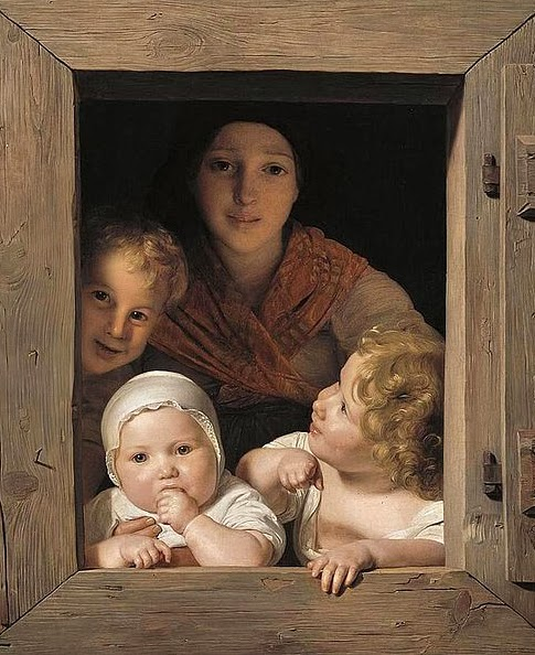window free Ferdinand_Georg_Waldmüller_-_Young_Peasant_Woman_with_Three_Children_at_the_Window_-_WGA25428
