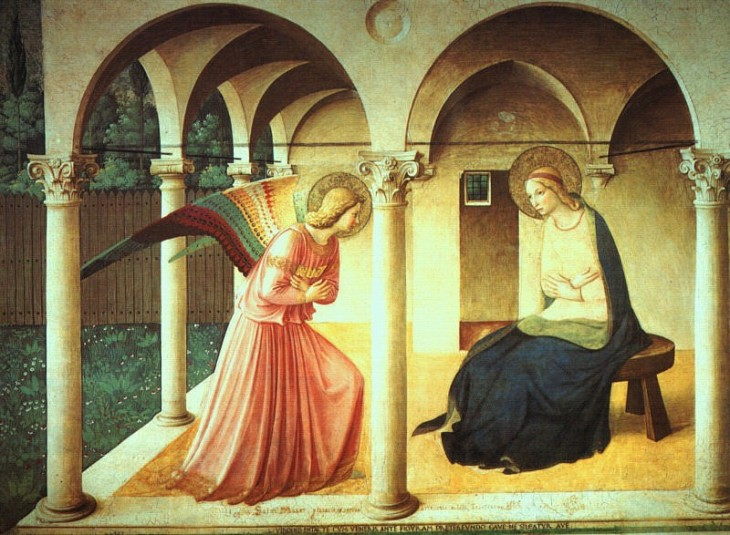 Fra Angelico,The Annunciation. fresco1438-45