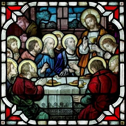 Stained glass window insert of the Last Supper created for St. Rocco Church in Avondale, PA