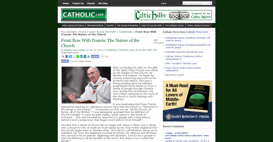 Front Row With Francis: The Nature of the Church on CatholicLane