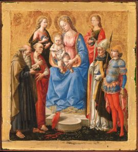 Madonna and Child with Six Saints, tempera on wood with gold ground, late 1440s. New York, Metropolitan Museum of Art,