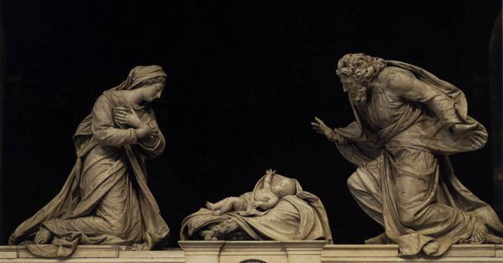 Michel Anguier, Nativity 1665/ 1668 Marble, height 160 cm St Roch, Paris