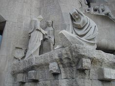 Barcelona, Spain: La Sagrada Familia: Peter and Jesus (1988, sculptor Josep M. Subirachs)
