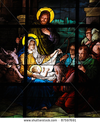 Nativity Scene. Stained glass window in the German Church (St. Gertrude's church)