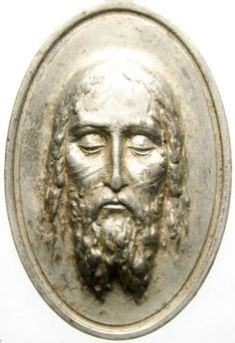 Holy face jesus - high-relief antique medal pendant