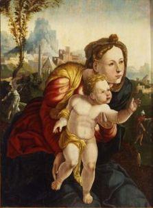Jan van Scorel (Workshop of), (1495-1562), Dutch Madonna and Child, 16th century