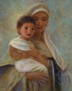 """""""Behold the Light"""" is Nancy Lee Moran's first interpretation of Mary and baby Jesus."""