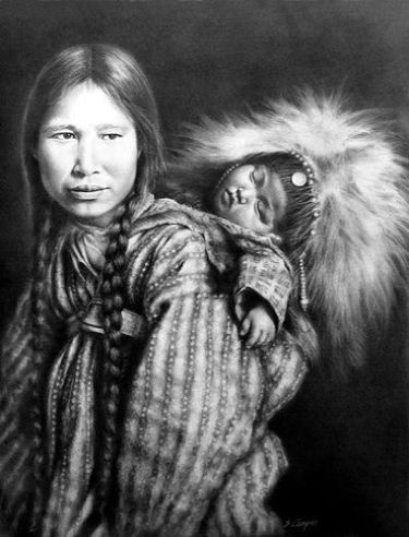 Madonna of the North, alaskan mother and child - Native American