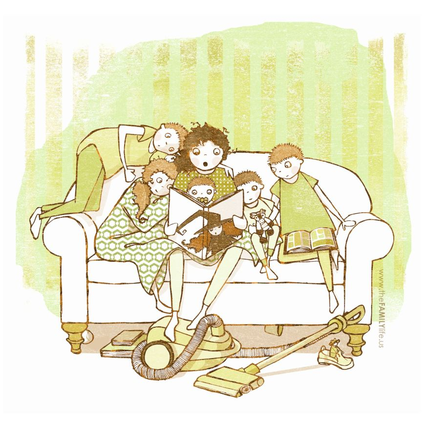 october-mom-reading-witch-book-to-kids-boy-girl-couch-living-room-illustration-drawing-the-family-life-halloween