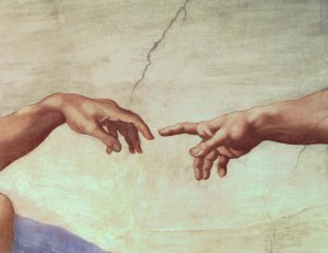 BAL143446 Hands of God and Adam, detail from The Creation of Adam, from the Sistine Ceiling, 1511 (fresco) (pre restoration)  by Buonarroti, Michelangelo (1475-1564); Vatican Museums and Galleries, Vatican City, Italy; Italian, out of copyright