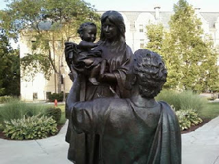 Statue of the Holy Family on Notre Dame's Campus