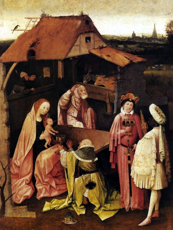 The Adoration of the Magi, or The Epiphany is a triptych oil painting on wood panel by the Netherlandish artist Hieronymus Bosch, executed around 1485-1500.